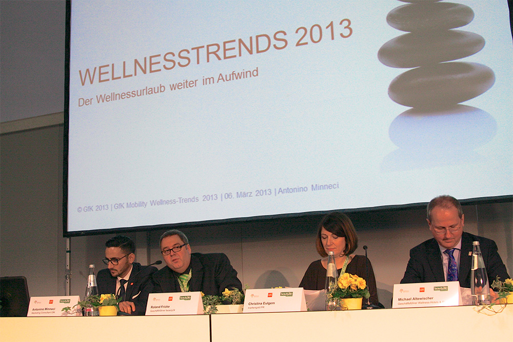 Pressekonferenz Wellnesstrends ITB mit Antonio Minneci, GFK; Roland Fricke, beauty24; Christina Eulgem, markengold PR; Michael Altewischer, Wellness-Hotels & Resorts (c) Foto: beauty24