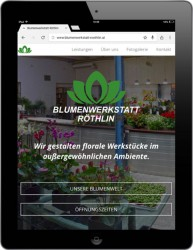 Die Blumenwerkstatt Röthlin hat eine moderne, responsive Single Site im Flat Design Stil. Foto: Screenshot der Website Blumenwerkstatt Röthlin / Lisa-Marie Leitner