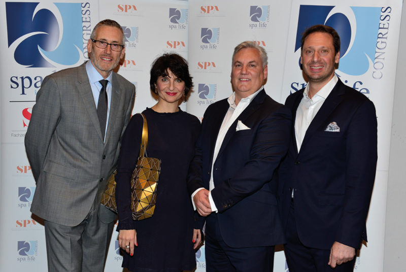 Die Veranstalter (v.l.n.r.): Mike Fitch (Spa Life UK), Franka Hänig (redspa media), Andrew Hammond (Spa Life UK) und Sascha Bostan (redspa media). Foto: Spa Life 2017 © Dirk Holst, www.dhstudio.de