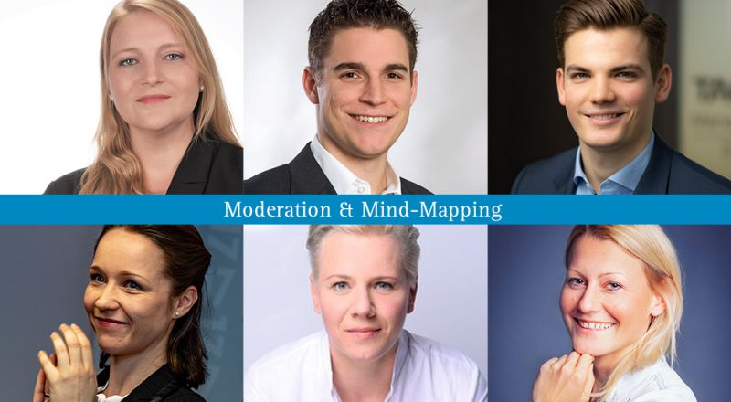 Moderation und Mind-Mapping beim SpaCamp 2019. (V. links) Elisabeth Holzmann & Jeannine Hermann (unten), Simon Kellerhoff & Gesine Ponto (unten), Andreas Artner & Melanie Almer (unten). Foto: SC/privat