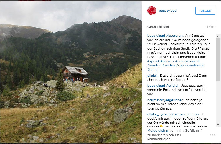 Einblick in den Instagram-Account von Beautyjagd